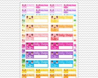 Kawaii Daily Steps Walk Stickers Planner Coloful Printable. Erin Condren Life Planner (EC - ECLP) FiloFax Kiki K Plum Paper Mambi.
