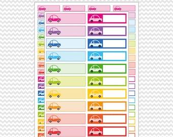 To Go Car Icons Labels Planner Stickers Printable Rainbow Colors: Erin Condren Life Planner (EC - ECLP) FiloFax Kiki K Plum Paper Mambi.