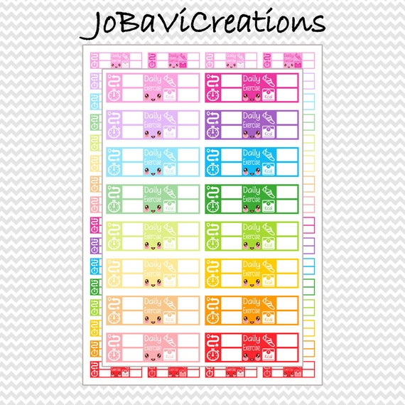 kawaii daily practice exercise tracker planner stickers etsy