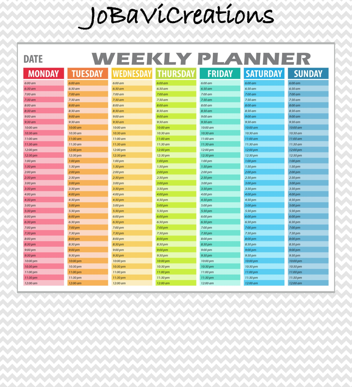 hourly weekly planner printable  daily planning printable