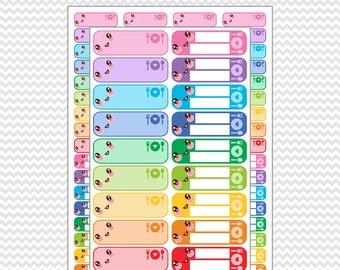 Kawaii Meal Label Planner Stickers Printable Pastel and Bright Colors: Erin Condren Life Planner (EC - ECLP) FiloFax Kiki K Plum Paper Mambi