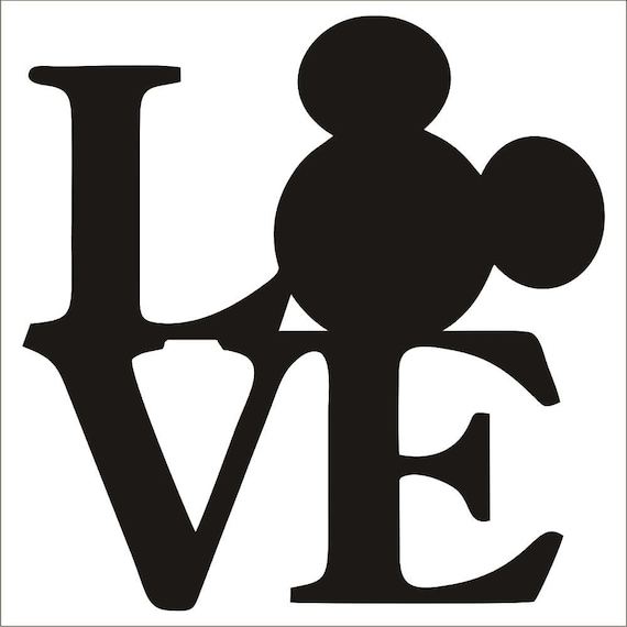 Mickey Mouse Love Decal Sticker Choose Color Size Etsy