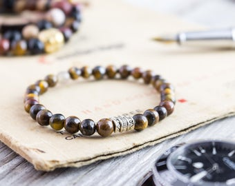 6mm - Tiger eye beaded stretchy bracelet, yoga bracelet, mens bracelet, womens bracelet