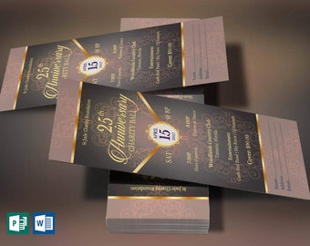 blue silver anniversary banquet ticket word publisher template etsy