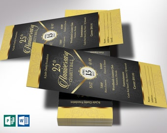 black gold anniversary banquet ticket word publisher template