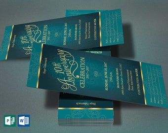 teal church anniversary word publisher ticket template