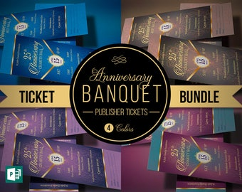 anniversary banquet ticket bundle publisher template 4 tickets included
