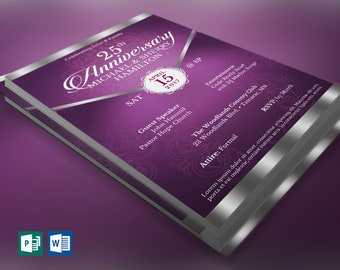 black silver anniversary banquet ticket publisher word etsy