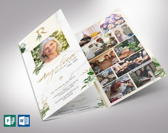 """Tropica Trifold Funeral Program Word Publisher Template   *Editable Colors   Print Size: 8.5""""x11"""""""