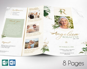 """Tropica Funeral Program Word Publisher Template   8 Pages  *Editable Colors   Print Size 8.5""""x11""""   Bi-fold to 5.5""""x8.5"""""""