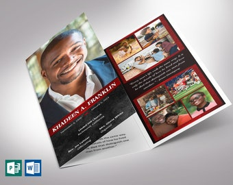 """Red Rock Trifold Funeral Program Word Publisher Template 