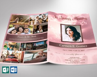 """Pink Forever Funeral Program Word Publisher Template 