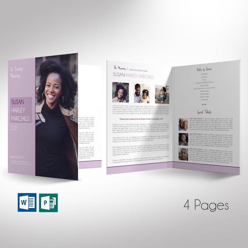 Pastel Purple Funeral Program Large Word Publisher Template  image 0