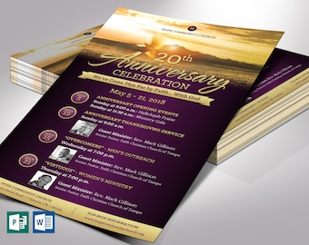 """Church Anniversary Flyer Word Publisher Template - Changeable Colors and Gradients   5""""x8"""""""