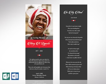 """Remember Funeral Bookmark Word Publisher Template 