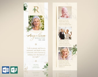 """Tropica Funeral Bookmark Word Publisher Template 