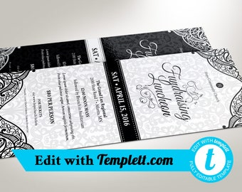 """Black White Luncheon Flyer Templett - Editable in any web browser on templett.com 