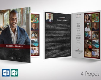 """Red Rock Funeral Program Word Publisher Tabloid Template 