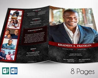 """Red Rock Funeral Program Word Publisher Template 
