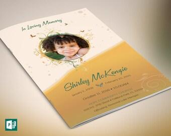 Yellow Princess Funeral Program Publisher Template