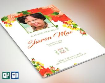 Orange Watercolor Funeral Program Word Publisher Template