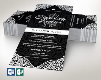 """Black Luncheon Flyer Word Publisher Template 