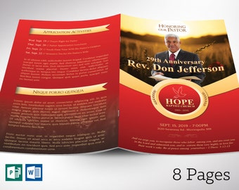 """Pastor Anniversary Program Word Publisher Template - 8  Pages 