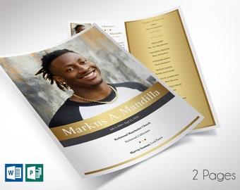 Kings Single Sheet Funeral Program Word Publisher Template