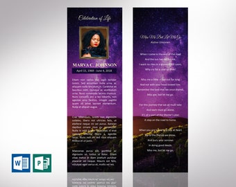 """Vineyard Funeral Bookmark Word Publisher Template 