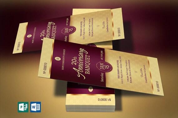 golden church anniversary banquet ticket word publisher etsy