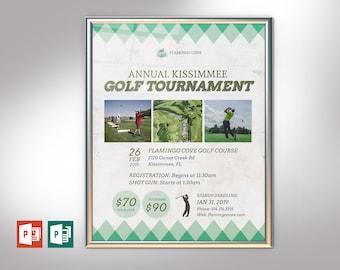 "Retro Golf Tournament Poster PowerPoint Publisher Template   Editable Colors   Print Size: 22""x28"""