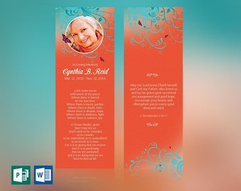 """Flourish Funeral Bookmark Word Publisher Template 