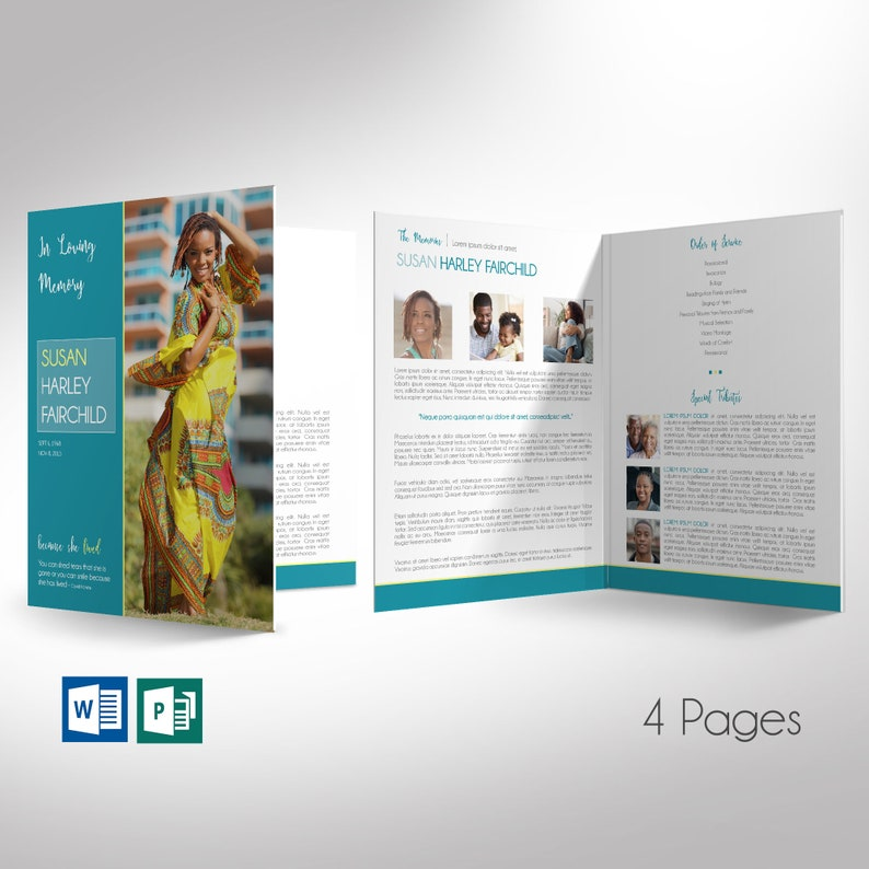 Teal Funeral Program Large Word Publisher Template  4 Pages  image 0