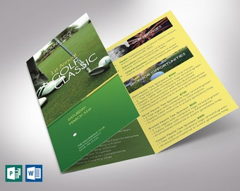 """Charity Golf Tournament Trifold Brochure Word Publisher Template 