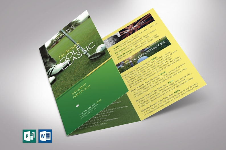 Charity Golf Tournament Trifold Brochure Word Publisher image 0