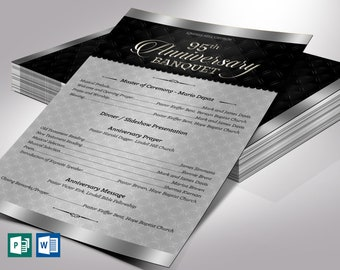 """Silver Church Anniversary Program One Sheet Word Publisher Template 