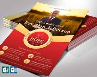 """Pastor Anniversary Flyer Word Publisher Template 