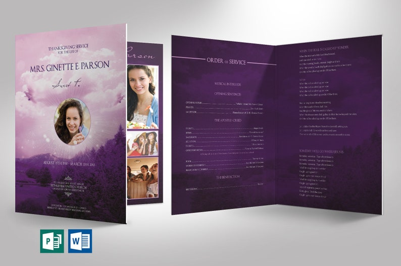 Purple Sky Funeral Program Large Word Publisher Template  8 image 0