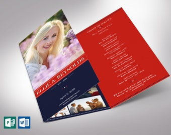 """American Military Trifold Funeral Program Word Publisher Template - V3   Editable Colors   Tri-fold to 3.65""""x8.5"""""""