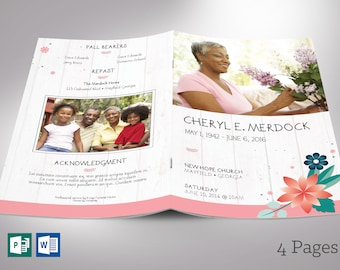"""Spring Funeral Program Word Publisher Template 