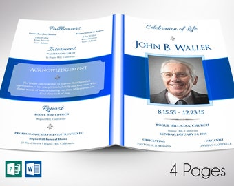 """White Blue Funeral Program Word Publisher Template 