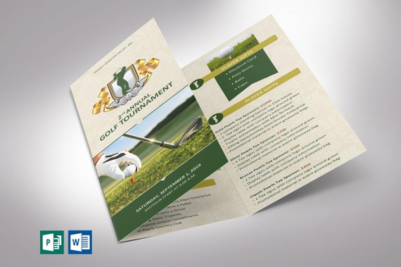 Charity Golf Tournament Brochure Template Word And Publisher Colors Can Be Changed Tri Fold Size 3 65 X8 5