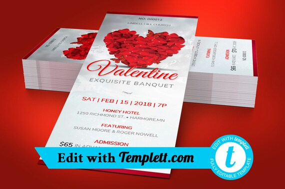 petals valentines banquet ticket templett editable in any etsy