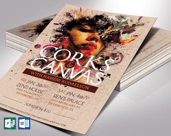 "Corks Canvas Art Flyer Word Publisher Template | Print Size 5.75""x8.75"" | Cut Size 5.5""x8.5"""