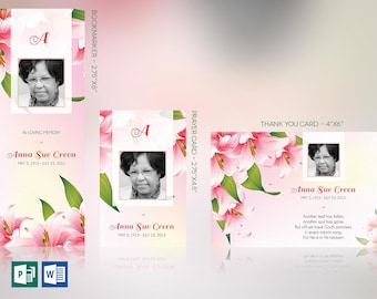 Petals Funeral Stationery Word Publisher Template Set | Bookmark, Prayer Card, Thank You Card