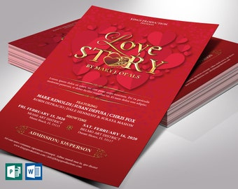 """Valentines Love Story Flyer Word Publisher Template   Editable background Color   Size 5.5""""x8.5"""""""