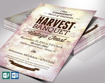 "Vintage Banquet Flyer Word Publisher Template | 4 Backgrounds | Print Size 4.25""x6.25"" | Cut Size 4""x6"""