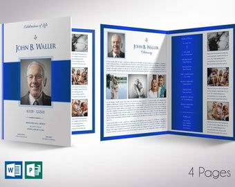 """White Blue Tabloid Funeral Program Tabloid Word Publisher Template 