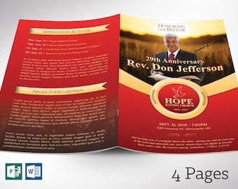 """Pastor Anniversary Program Word Publisher Template - 4 Pages 