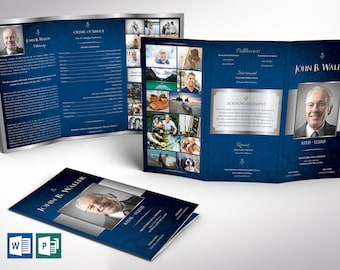 """Blue Silver Tabloid Trifold Funeral Program Word Publisher Template V2   Print Size 11""""x17""""   Trifold Size 5.75""""x11"""""""